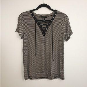 Striped lace up T shirt